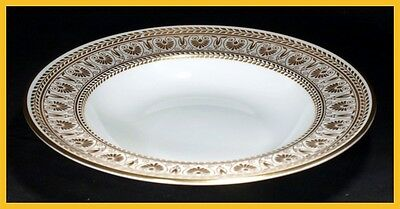 Crown Staffordshire Gold Victoria 8 1/2 Inch Rimmed Soup Bowls - 1st Quality New