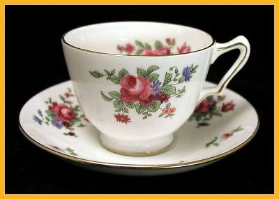 Crown Staffordshire Dresden Spray Cups & Saucers
