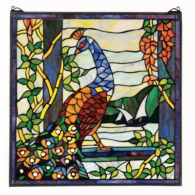 """Elegant Toscano Peacock Garden Hand Cut Stained Glass Window Hanging 22""""Wx22½""""H"""
