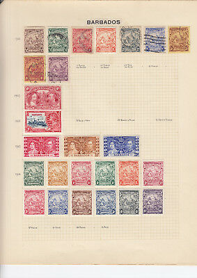BARBADOS Stamp Collection on 4 album pages - mint & used