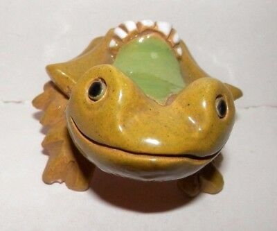 "Vintage Ceramic Green And White Smiling Frog Paperweight 2"" X 2.5"""