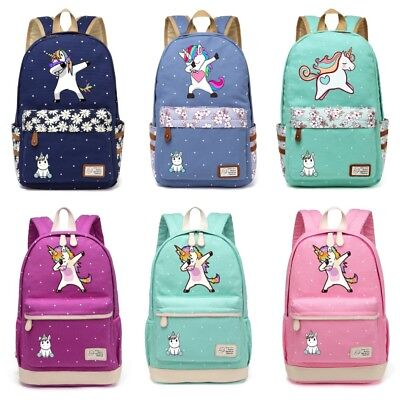 Unicorn Cartoon Backpack Canvas Travel Bag For Teenage School Fashion Girls