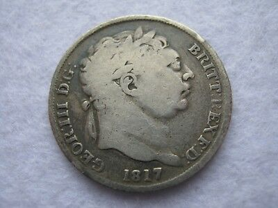 1817 King George III milled sterling silver sixpence coin (207)
