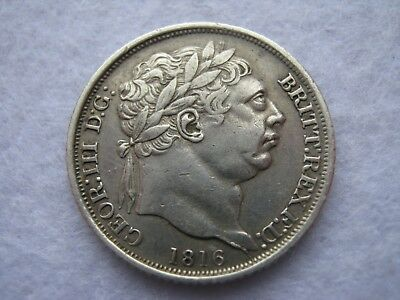1816 King George III milled sterling silver sixpence coin - better grade (208)