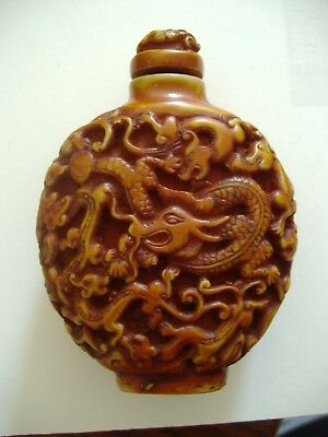 Vintage Chinese Snuff bottle well carved Dragons Kilins, resin/wood/ bovinebone?