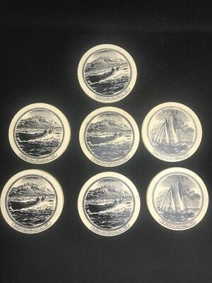 7 Cutty Sark Real McCoy 3 1/2 Coasters Plastic Cork Scrimshaw Look Two Design A1