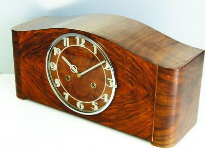 Pure Art Deco Design Chiming Mantel Clock From Junghans  With Pendulum