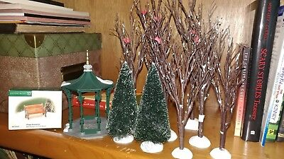 Dept 56 Christmas Village Accessories Bare branch trees, gazebo, bench, +more