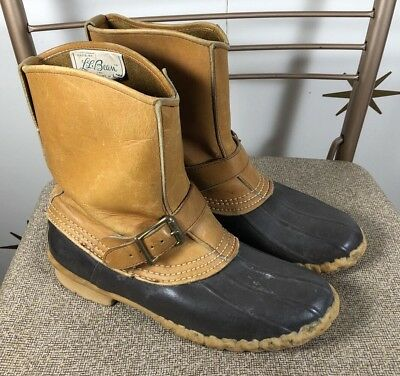 Vintage 60s Womens LL BEAN Leather Rubber Rainboots Duck Boots Sz 7.5 M
