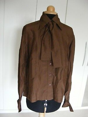 Vintage Simpson Piccadilly Brown Silk Shirt with Scarf- Size 40 UK12/14