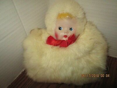 Vintage Child's Rabbit Fur Muff. Attached Doll Head. Yellowed But Cute!!