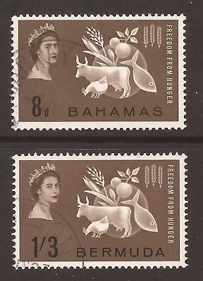 BAHAMAS / BERMUDA 1963 SG223 & SG180 Freedom from Hunger Fine Used (JB4429)