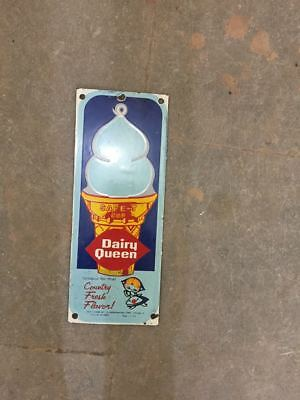 """Porcelain DAIRY QUEEN Sign SIZE 12"""" X 5"""" INCHES"""