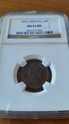 Great Britain 1890 Victoria Farthing  Ngc  Ms  63 Bn