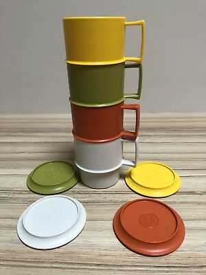VTG Lot 4 TUPPERWARE Harvest Stackable Coffee Mugs Cups & Coasters/Lids #1312