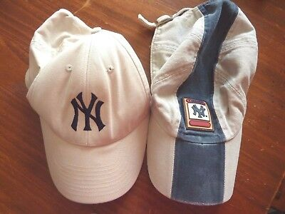 2 Used '' Yankees '' Base Ball Caps( Both Fits One Size ) Adjustable Size Straps