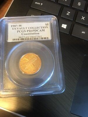 1987-W Constitution Commemorative Five Dollar $5 Gold Coin PCGS MS69--STUNNING!!