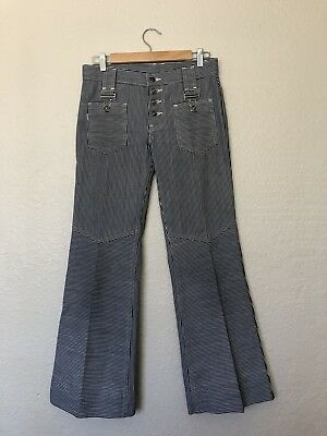 Vintage Rare 1970s Levi's for Gals Blue & White Striped Bell Bottom Capri Big E