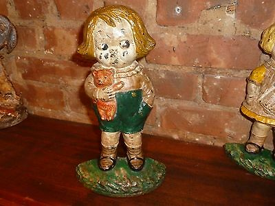 ANTIQUE RARE HUBLEY BOBBY BLAKE BOY W/ TEDDY BEAR CAST IRON DOOR STOP. Signed!!!
