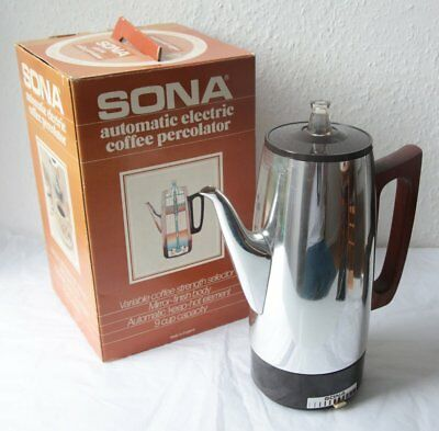 Boxed Vintage Sona Automatic Electric Coffee Percolator + Instructions
