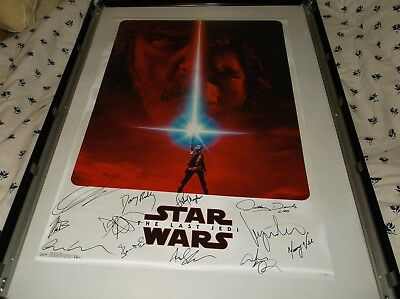 Star Wars The Last Jedi Autograph Movie Poster Signed Driver Ridley Boyega+9