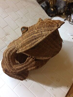 "Vintage WICKER FROG 18""Woven Wastepaper Basket w/ Glass Marble Eyes"