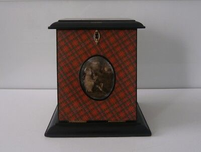 Antique Scottish Tartan Ware 'Royal Stuart' Letter Stationary Box c1890-10