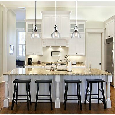 Industrial Pendant Light Glass Ceiling Lamp Lighting Fixture Kitchen Island