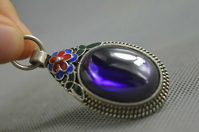 Collectable Handwork Miao Silver Carve Flower Inlay Crystal Royal Noble Pendant