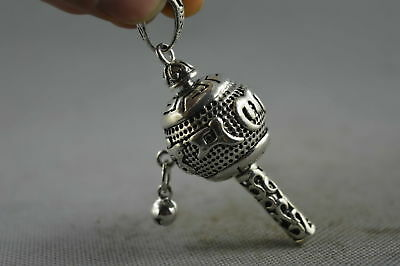 China Collectable Handwork Miao Silver Carve Ancient Totem Lucky Fashion Pendant
