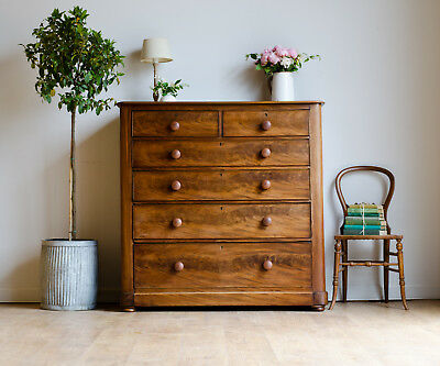 Large Antique Victorian Mahogany Chest of 6 Drawers / Tallboy