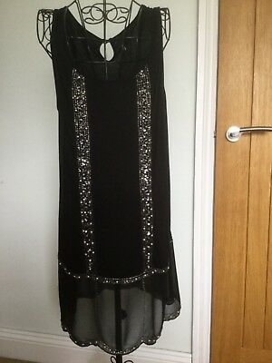 NEXT 1920s Style Gatsby Flapper Charleston Sequin Beaded Dress Size 16 NEW