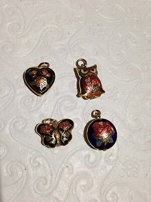 Cloisonne pendant Lot of 4 vintage double sided owl/heart/circle/butterfly charm