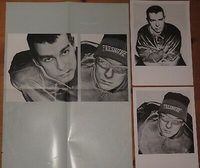 PET SHOP BOYS - PROMOTIONAL POSTER + 2 x BLACK AND WHITE PROMOTIONAL PICTURES