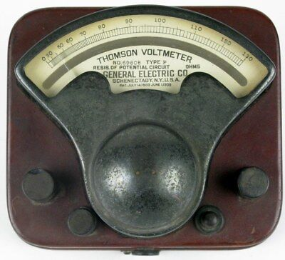 Antique 1909 TEXAS POWER & LIGHT Thompson Voltmeter by General Electric Co 69608