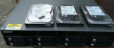 QNAP TS-859u-RP NAS device with 3x500GB SATA HDDs