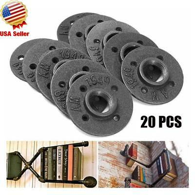 "20Pcs 1/2"" Black Malleable Iron Pipe Threaded Floor Flange Fittings Wall Mount"