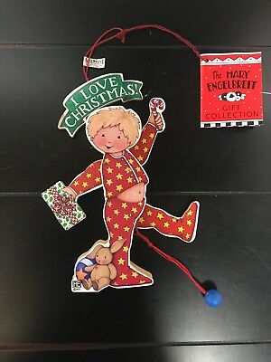 Mary Engelbreit Wood Christmas Ornament - MOVEABLE BOY IN RED PAJAMAS