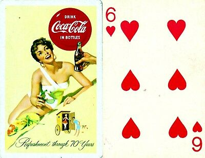 Vintage 1956 Coca Cola Six of Hearts Playing card  Excellent.