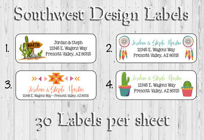 SOUTHWEST, Cactus, Desert, Personalized Return Address Labels, 30 Per Sheet