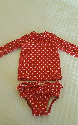 EUC J.CREW Baby Crewcuts red and white polka dot bathing suit 6-12 months