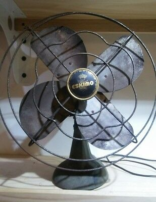 VINTAGE Eskimo 45R Electric Desk Fan Working Spiderweb Grill Antique Occelating