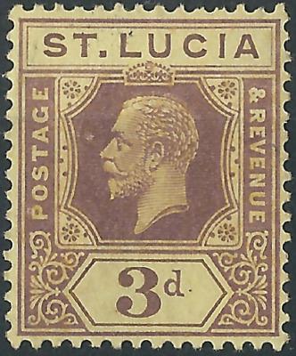 St Lucia George V 1912+: SG71/82/100 3d Purple/Yellow. Very Fine MH*.