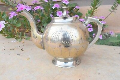 vintage arabian silver  teapot, decorative hand carved traditional silver pot