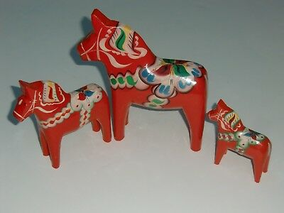 Vtg. Lot 3 Nils Olsson Carved Wood Painted Red Scandinavian Swedish Dala Horse