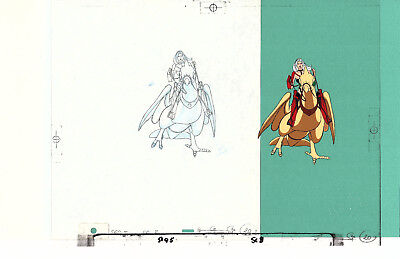 """Original production animation cel and pencil Taarna and bird """"Heavy Metal"""" 1981"""