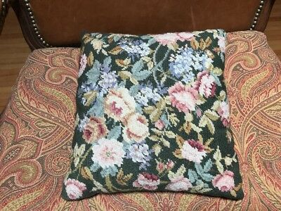 """15"""" x 14"""" Vintage Floral Needlepoint Pillow Green Back Wool Flowers"""