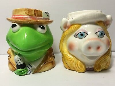 Vintage Jim Henson Muppets Kermit the Frog & Miss Piggy Ceramic Mugs Cups MINTY