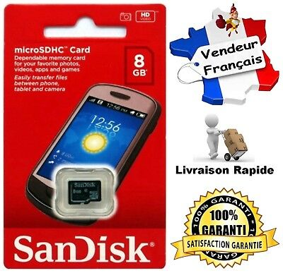 Carte Mémoire ( Memory Card ) SANDISK 8 Go - Format Micro SD SDHC ( Classe 4 )