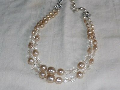 Vintage JAPAN Baroque faux pearl & Clear bead 2 strand 16 inch Choker necklace